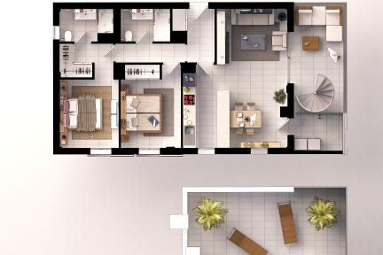 Penthouse floor plan, 2 bathrooms, 2 bedrooms, kitchen, living room, solarium and laundry