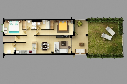 Ground floor plan with private garden, 2 bedrooms, 2 bathrooms, kitchen, living room and laundry room