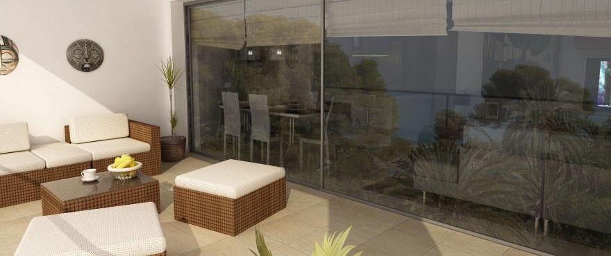 Residential La Vila Paradis: brede terrasser med havutsikt. Playa Paraiso. Villajoyosa