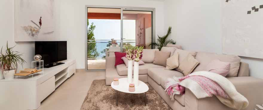 Light and spacious living room of modern design, Costa Beach, Mallorca