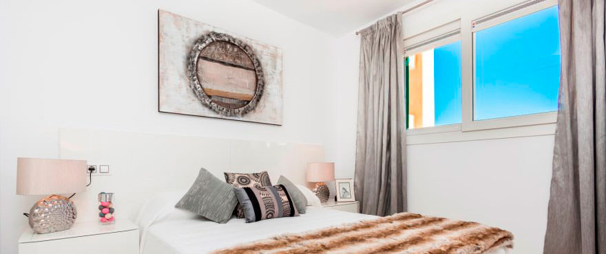 Spacious main bedroom in apartments for sale in Cala Magrana III, Mallorca