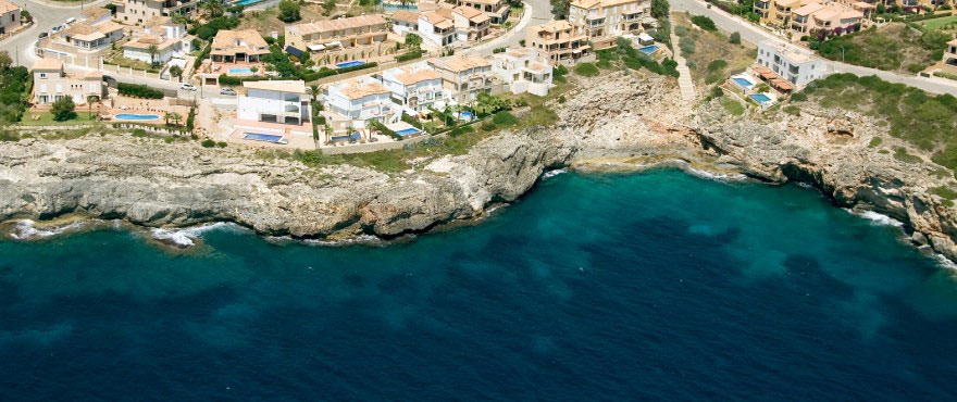 Aerial view of Cala Magrana III, next to the sea