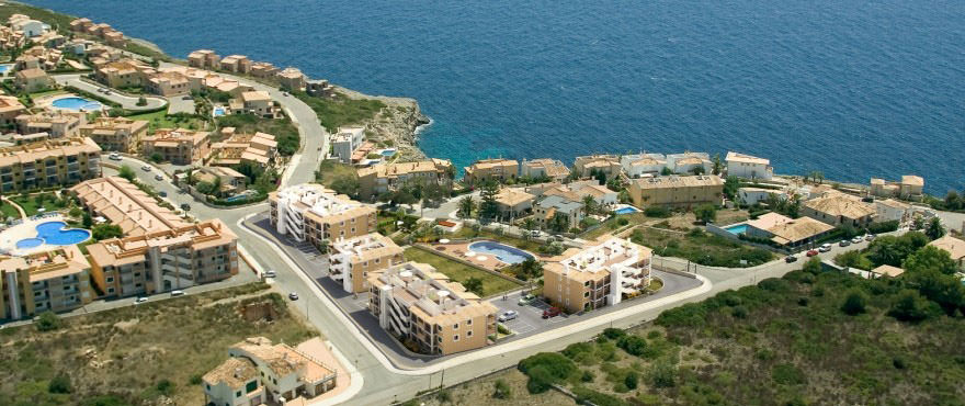 Aerial view of apartments for sale in Mallorca on the beach