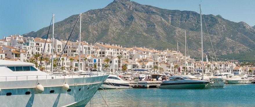 View of Puerto Banús in Marbella next to Los Arqueros Beach