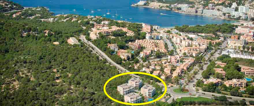 Views and location of Santa Ponsa properties, Mallorca, Spain