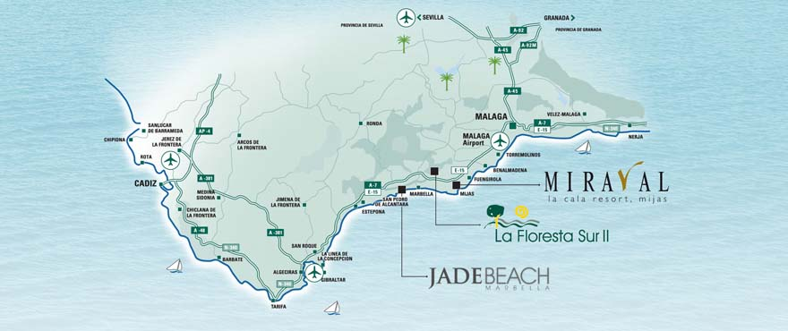 Kart over beliggenheten for boligene fra Taylor Wimpey på Costa del Sol