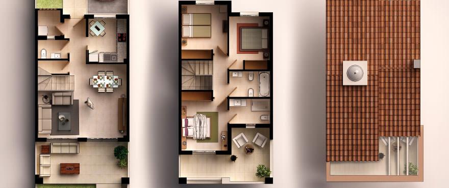 Reihenvillen in Elche, Alicante: Grundriss, 3 Schlafzimmer, 2 Bäder, Gäste-WC, Terrasse, Garten und Parkplatz