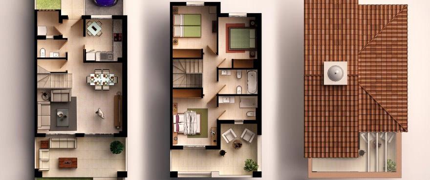 Plattegrond: 3 slaapkamers, 2 badkamers, toilet, terras, tuin en garage.
