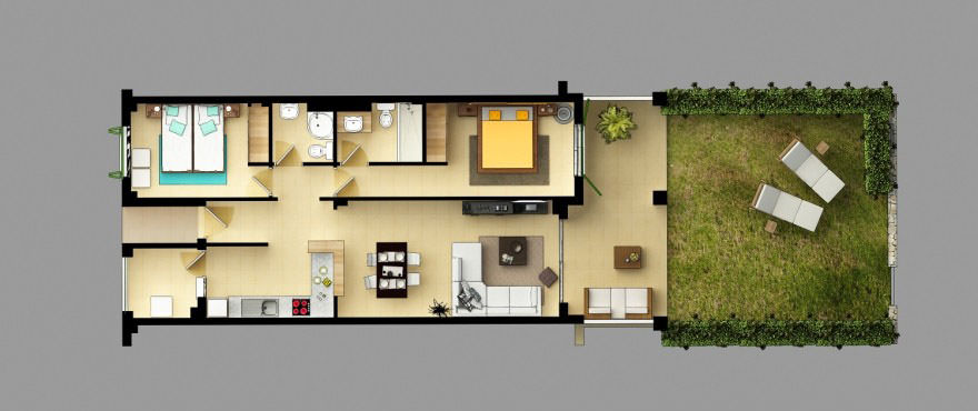 Floorplan of penthouse with solarium, 2 bedrooms, 2 bathrooms, kitchen, living room, laundry and terrace