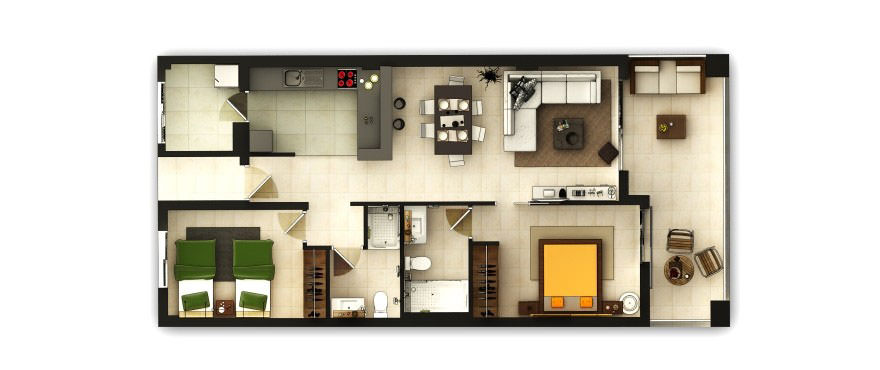 Plan of apartment of Costa Beach, Port Vell, Costa de los Pinos, Mallorca