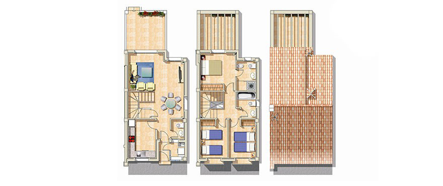 Plan at two levels, with three bedrooms, two bathrooms and a toilet