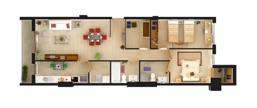 Floorplan of two bedroom and two bathroom flat for sale in Mallorca