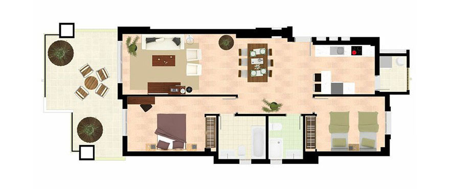 La Floresta Sur apartments: 2 bedroom apartment
