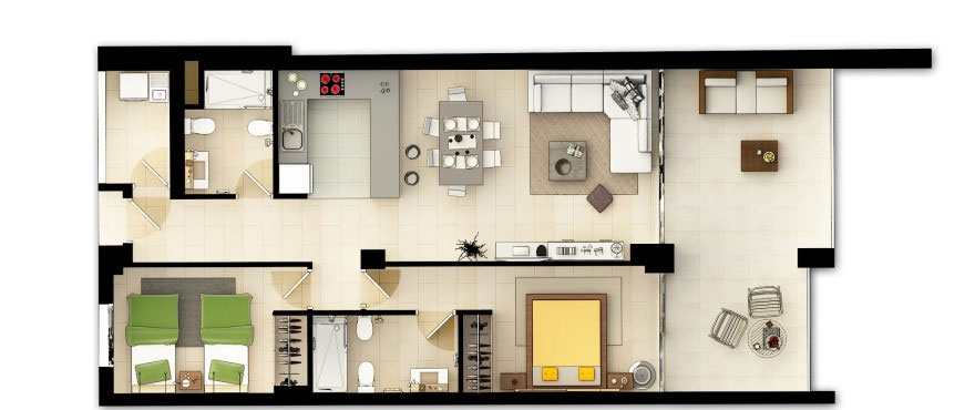 La Vila Paradis, Villajoiosa: 2 bedrooms apartment floorplan in La Vila Paradis