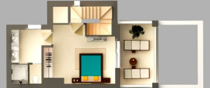Floor plan of ground floor with: garden, terrace, 3 bedrooms, 2 bathrooms