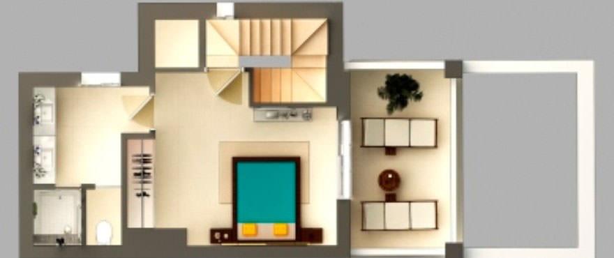 Plantegning av første etasje med: hage, terrasse, 3 soverom, 2 bad