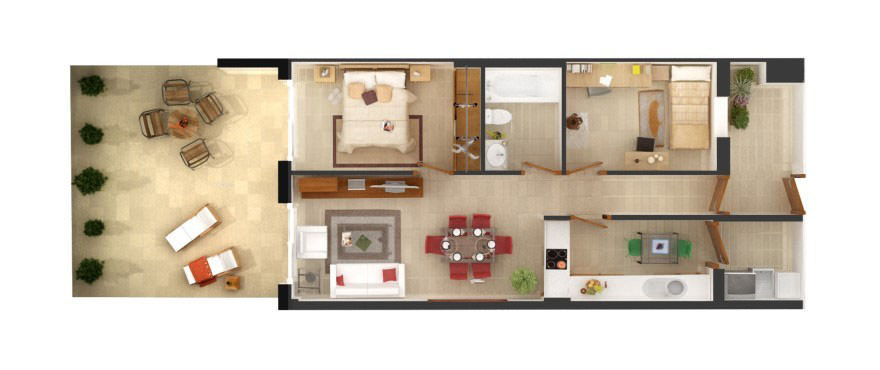 Floor plan of two bedroom and one bathroom flat for sale in Edifici Alber, Mallorca