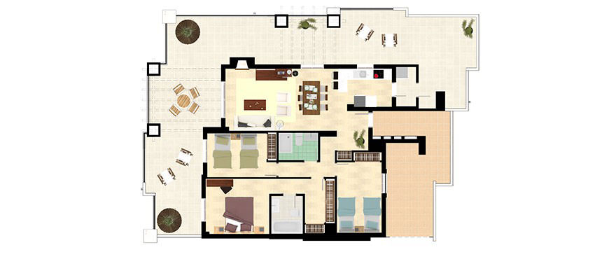 La Floresta Sur apartmenst: 3 bedroom penthouse