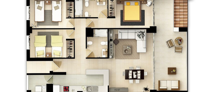La Vila Paradis, Villajoiosa: 3 bedroom apartment floorplan in La Vila Paradis
