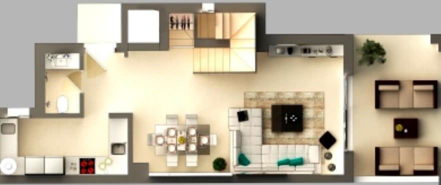 Plattegrond van vakantiehuis, begane grond met keuken, terras, toilet, eetkamer en wasruimte