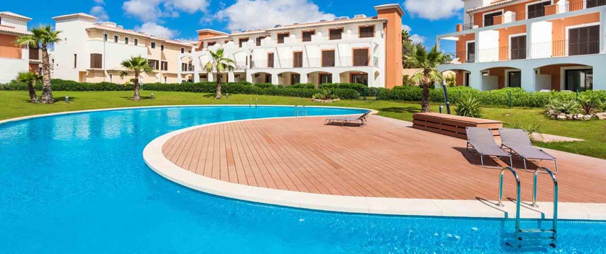 Communal swimming pool and garden in Camp de Mar Beach complex, Mallorca