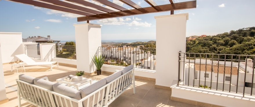 La Floresta Sur apartments for sale: Spacious terrace with sea, forest and swimming pool views