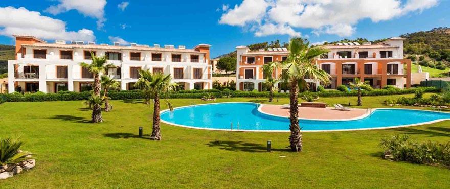 Communal swimming pool and garden in Camp de Mar complex, Mallorca