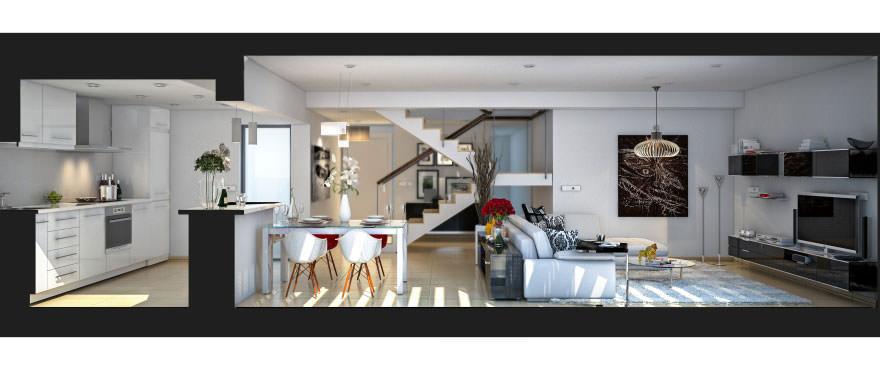 Открытая кухня с видом на зал в апартаменте на продажу в Лос La Vila Paradis