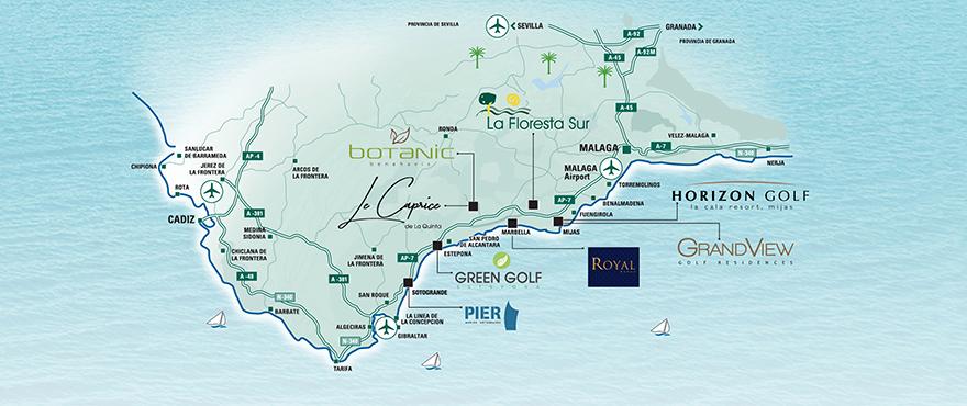 Karte der Taylor Wimpey Immobilien in Spanien, Costa del Sol
