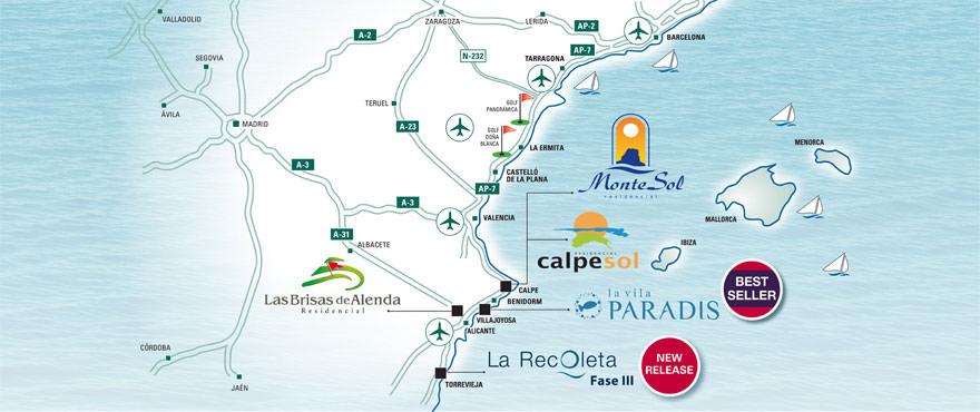Situational map of Costa Blanca