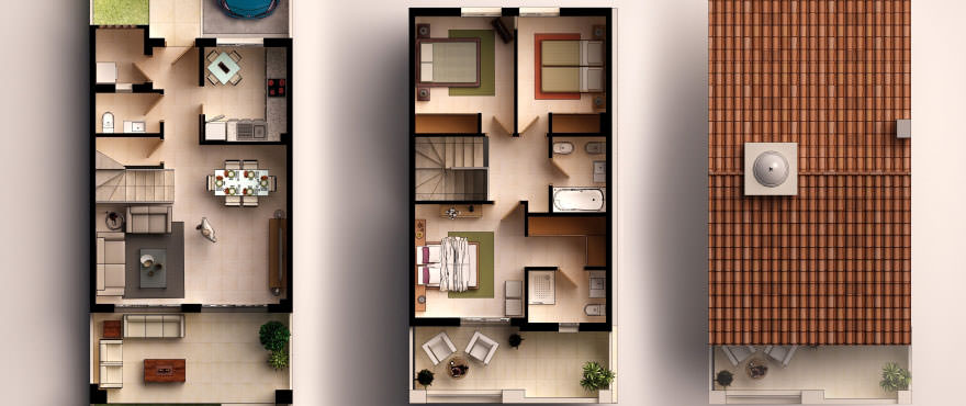 Townhouses in Elche, Alicante: Floor plan: 3 bedrooms, 2 bathrooms, toilet, terrace, garden and garage.