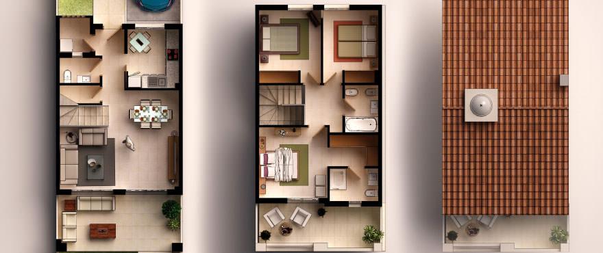 Townhouses in Elche, Alicante: Floor plan: 3 bedrooms, 2 bathrooms, toilet, terrace, garden and garage.