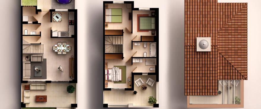 Planritning: 3 sovrum, 2 badrum, toalett, terrass, trädgård och garage
