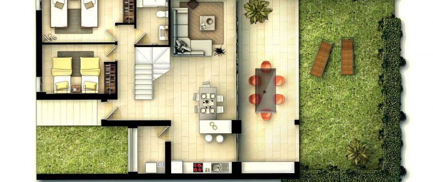 Planlösning, Radhus, 3 rum och kök, La Vila Paradis, Vilajoiosa, Costa Blanca