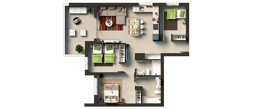 Floor plan: 3 bed apartment, La Recoleta, Punta Prima, Torrevieja, Costa Blanca