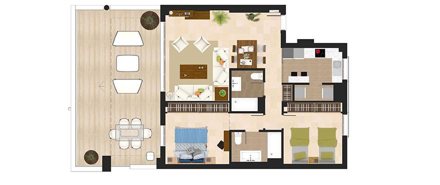 Planlösning, 2 sovrum lägenheter