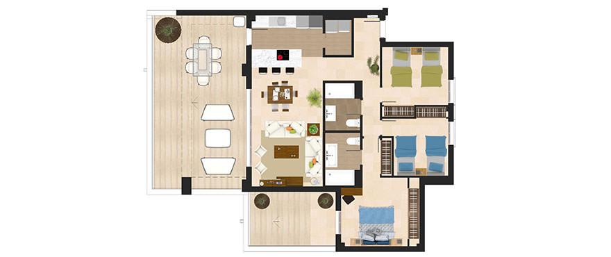 Planlösning, 3 sovrum lägenheter