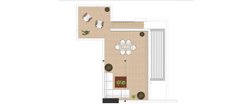 Plattegrond van drieslaapkamerpenthouse met solarium