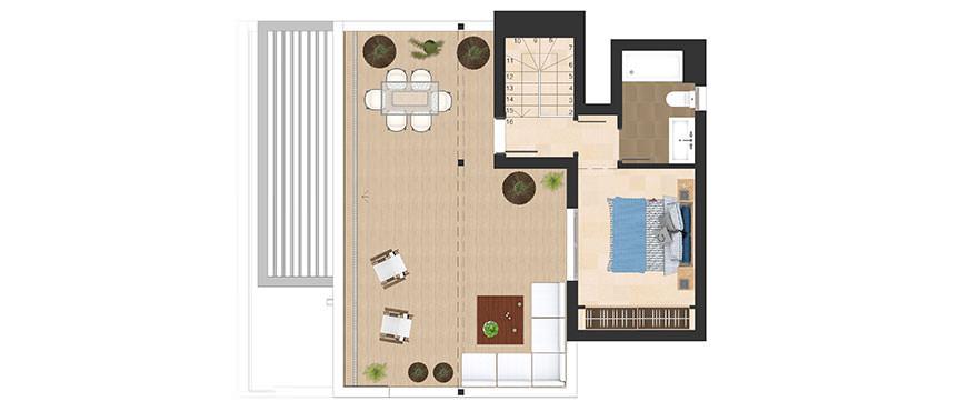 Planlösning, 3 sovrum, takvåning med solarium
