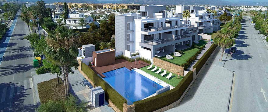 Jade Beach: Residential complex with communal pool and gardens, wide terraces and sea views