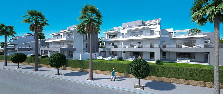 Jade Beach boligkompleks ses fra gaten