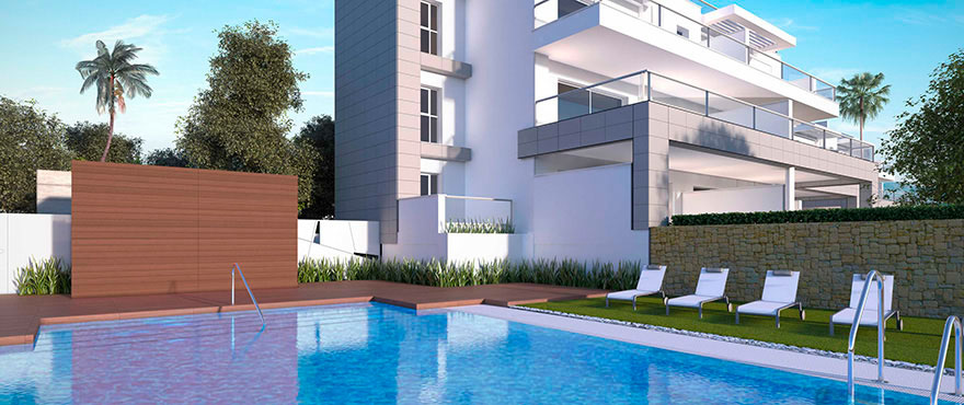 Modern pool in Jade Beach, apartments for sale