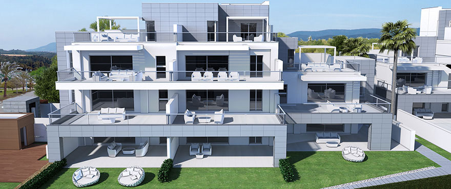 Jade Beach, Marbella: Wide terraces with view