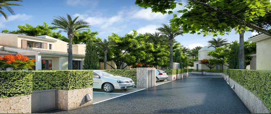 Townhouses and villas with private parking
