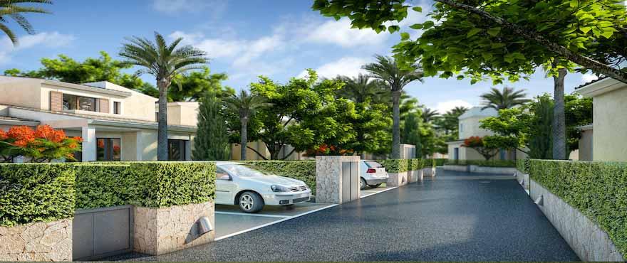 Reihenhäuser und Villen mit eigenem Parkplatz