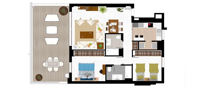 appartements de 2 chambres