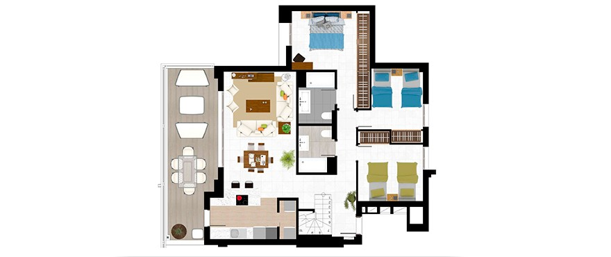 Plan 3 bedroom with solarium