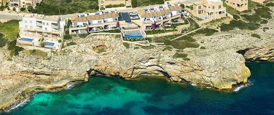 Aerial view of Cala Magrana Mar complex next to the sea