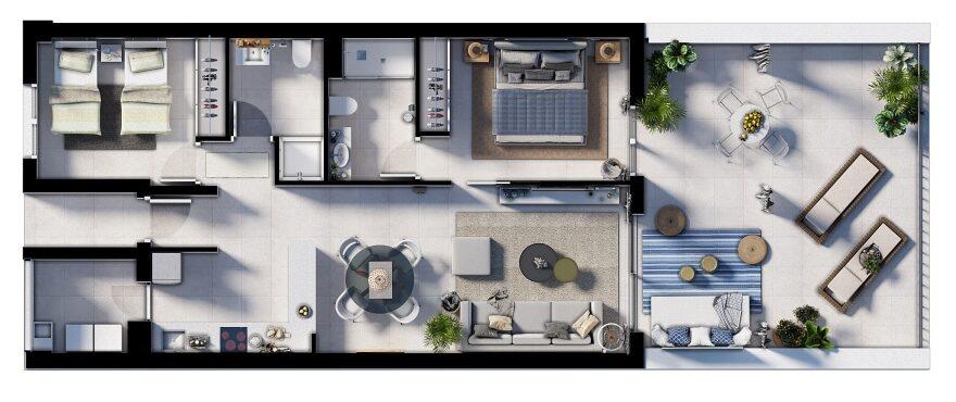 Canyamel Pins, plano 2 dormitorios