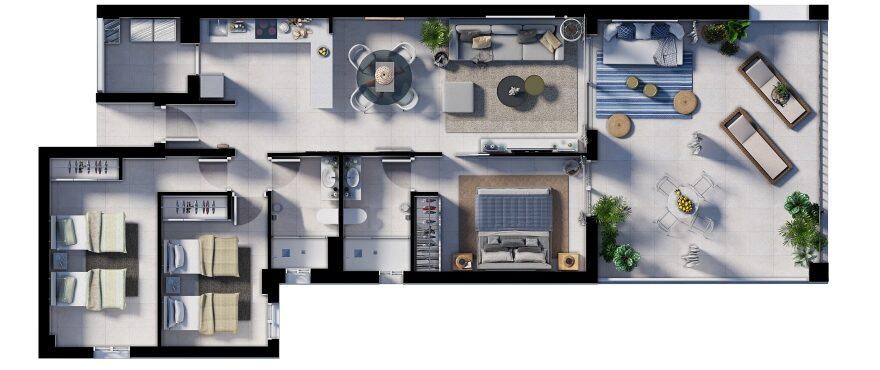 Canyamel Pins, plano 3 dormitorios